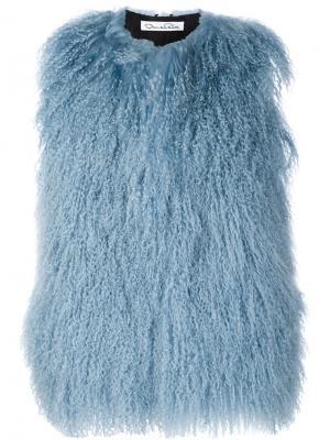 Куртка без рукавов из овчины Oscar de la Renta. Цвет: синий