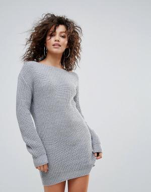 Lasula Вязаное платье-джемпер с широким вырезом. Цвет: серый