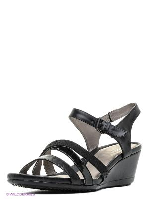 Туфли летние ремешковые ECCO. Цвет: черный