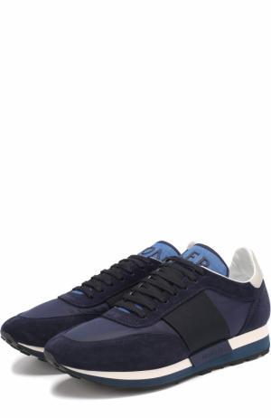 Комбинированные кроссовки на шнуровке Moncler. Цвет: синий