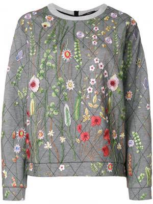 Стеганая толстовка с цветочной вышивкой Odeeh. Цвет: серый