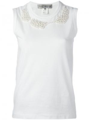 Pearled trim sleeveless top Comme Des Garçons. Цвет: белый