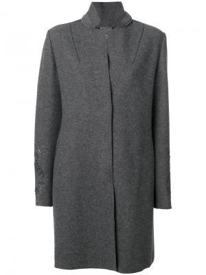 Пальто с воротником-стойка Lorena Antoniazzi. Цвет: серый
