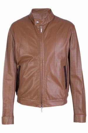 Кожаная куртка на молнии CASTANGIA. Цвет: оранжевый