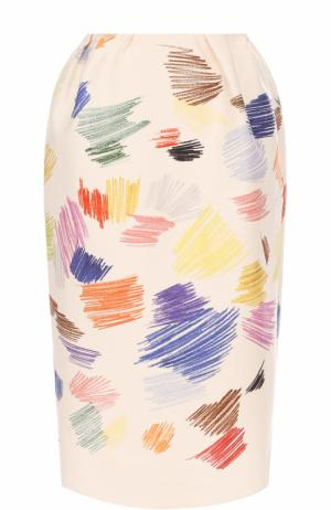 Хлопковая юбка-миди с принтом Vika Gazinskaya. Цвет: бежевый