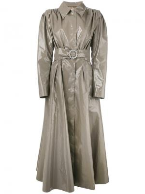 Длинное виниловое пальто-тренч Alessandra Rich. Цвет: зелёный