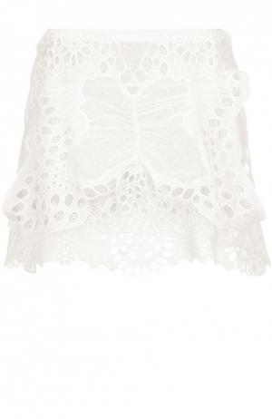 Кружевная мини-юбка с карманами Chloé. Цвет: белый