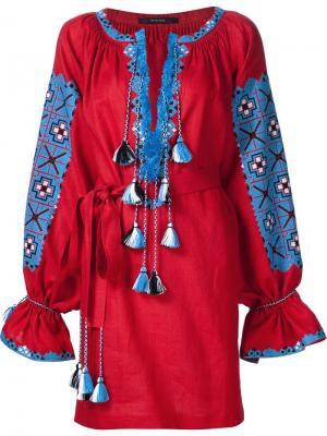 Платье-туника с вышивкой Vita Kin. Цвет: красный