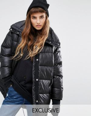 Puffa Удлиненная дутая оversize-куртка. Цвет: черный