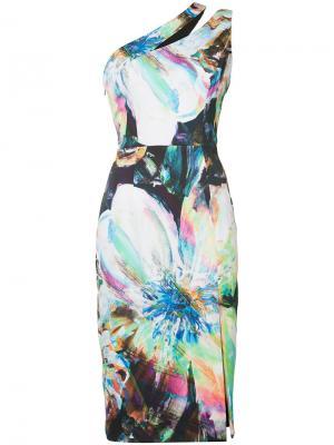 Платье на одно плечо с принтом Black Halo. Цвет: многоцветный