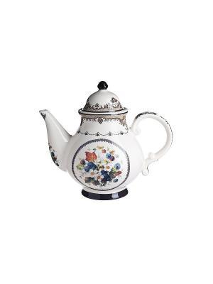 Чайник Букет Elff Ceramics. Цвет: белый, синий, бежевый