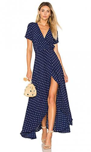 Макси-платье с запахом lily AUGUSTE. Цвет: синий