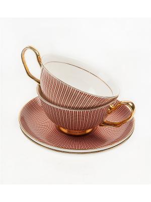 Подарочный чайный набор Версаль на 2 персоны Русские подарки. Цвет: белый, бордовый, золотистый