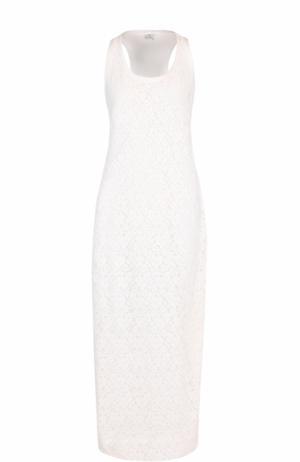 Кружевное платье-макси без рукавов Deha. Цвет: белый
