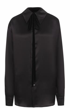 Однотонная шелковая блуза свободного кроя Ann Demeulemeester. Цвет: черный