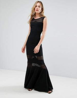 City Goddess Платье макси с юбкой годе и сетчатыми вставками. Цвет: черный