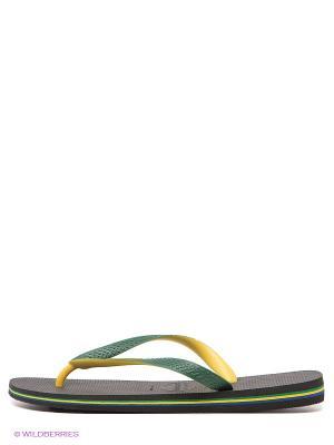 Шлепанцы Havaianas. Цвет: черный, желтый, зеленый