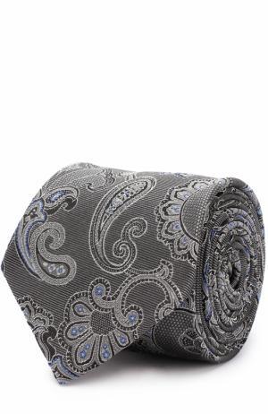 Шелковый галстук с узором Eton. Цвет: серый