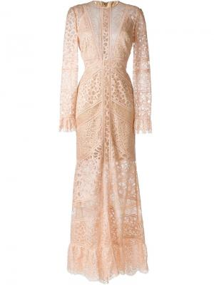 Кружевное платье Melrose Elie Saab. Цвет: телесный