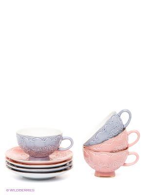 Чайный набор Дольче Луиза Pavone. Цвет: бледно-розовый, сиреневый