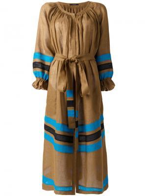 Полосатое платье с поясом Vita Kin. Цвет: коричневый
