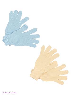 Перчатки FOMAS. Цвет: голубой, светло-бежевый