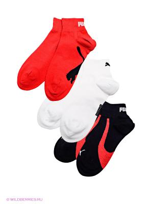 Носки, 3 пары Puma. Цвет: белый, красный, черный
