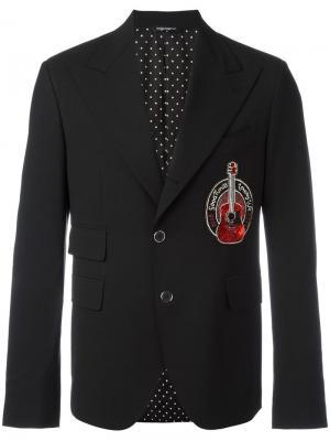 Пиджак с заплаткой в форме гитары Dolce & Gabbana. Цвет: чёрный