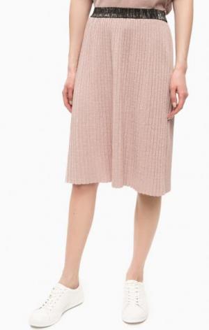 Плиссированная юбка из вискозы POIS. Цвет: розовый