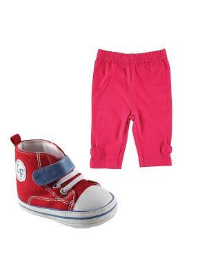 Комплекты Лосины , 1 пара, + Пинетки Luvable Friends. Цвет: розовый, красный