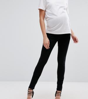 ASOS Maternity Черные джинсы скинни для беременных с поясом поверх животика Mate. Цвет: черный