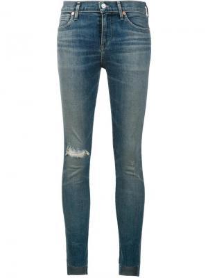 Укороченные джинсы скинни с рваной отделкой Citizens Of Humanity. Цвет: синий