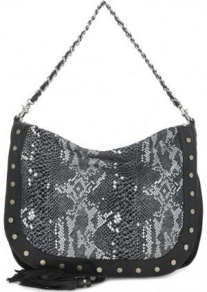 Кожаная сумка через плечо с животным принтом на клапане Tyoulip Sisters. Цвет: серый