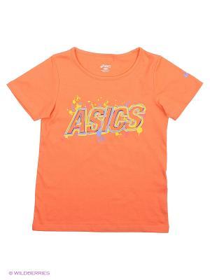 Футболка TR LOGO SS ASICS. Цвет: коралловый