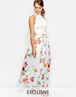 True Violet Атласная бальная юбка макси. Цвет: мульти