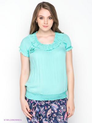 Блузка Gemko. Цвет: бирюзовый