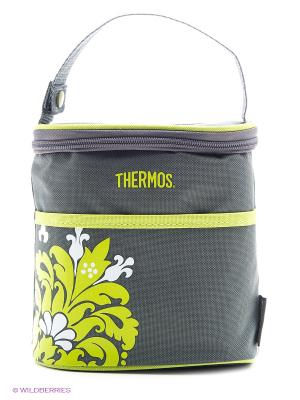 Сумка-термосна 4 бутылочки BOTTLE HOLDER - VALENCIA Thermos. Цвет: серый, салатовый