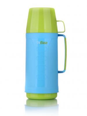 Термос 1.0л, пластиковый со стек. колбой (24) MEJ100DC MiEssa. Цвет: светло-голубой, голубой, зеленый