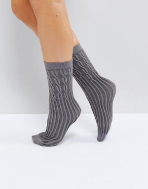 Jonathan Aston Серые носки с узором в косичку. Цвет: серый