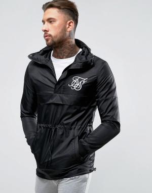 SikSilk Черная куртка через голову. Цвет: черный