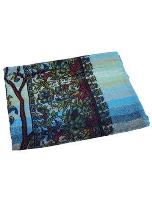 Покрывало декоративное набивное ETHNIC CHIC. Цвет: голубой