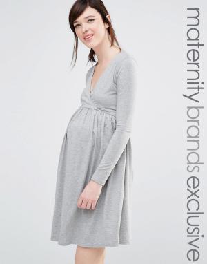 Club Lounge Maternity Короткое приталенное платье для беременных L. Цвет: серый