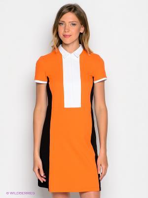 Платье DOCTOR E. Цвет: оранжевый, белый, темно-серый