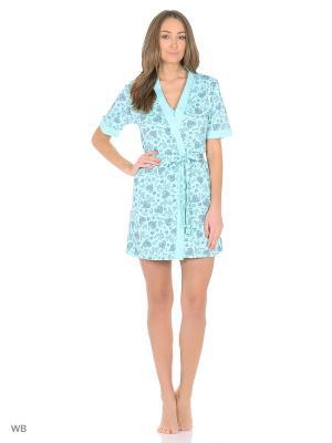 Комплект домашней одежды (халат, топ, шорты)) HomeLike. Цвет: бирюзовый, серый