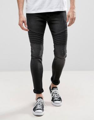 Loyalty & Faith Черные выбеленные байкерские джинсы скинни and Carbon. Цвет: черный