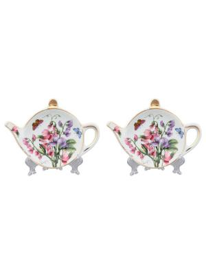 Набор из 2-х розеток под чайный пакетик Душистый горошек Elan Gallery. Цвет: розовый, белый, зеленый