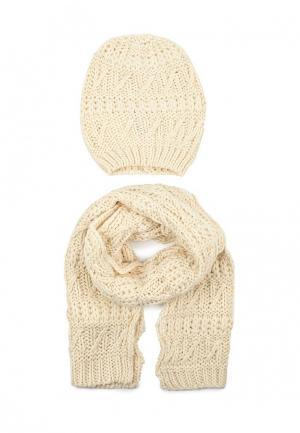 Комплект шапка и шарф Chicco. Цвет: бежевый
