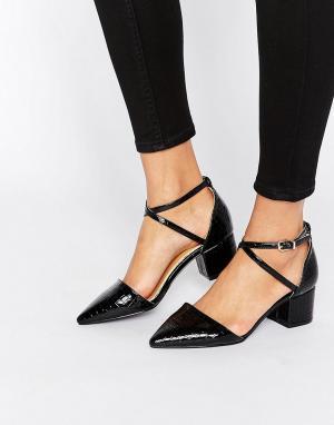 Raid Черные туфли на среднем каблуке с имитацией крокодиловой кожи Avi. Цвет: черный