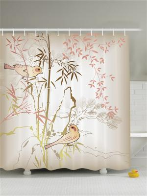 Фотоштора для ванной Вестники весны, 180*200 см Magic Lady. Цвет: бежевый, белый, коричневый, молочный, розовый, светло-коричневый, серый, черный
