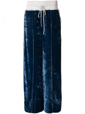 Бархатные брюки Off-White. Цвет: синий